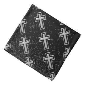Silver Tone Christian Cross on Black Sparkle Bandana