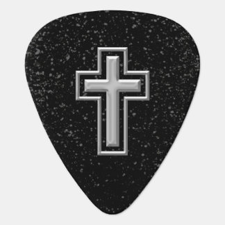 Silver Tone Christian Cross on Black Sparkle Guitar Pick