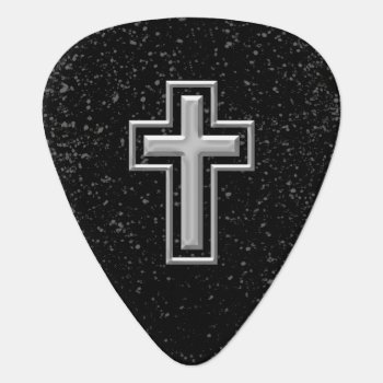 Silver Tone Christian Cross On Black Sparkle Guitar Pick by cutencomfy at Zazzle