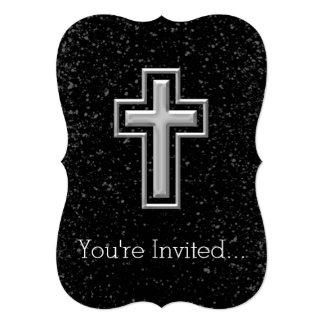 "Silver Tone Christian Cross on Black Sparkle 5"" X 7"" Invitation Card"