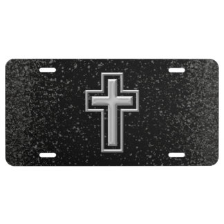 Silver Tone Christian Cross on Black Sparkle License Plate