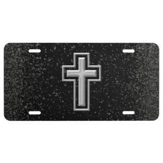 Silver Tone Christian Cross on Black Sparkle License Plate