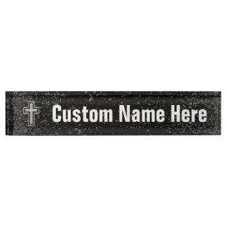 Silver Tone Christian Cross on Black Sparkle Name Plate