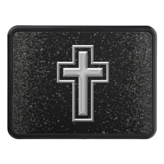 Silver Tone Christian Cross on Black Sparkle Tow Hitch Covers