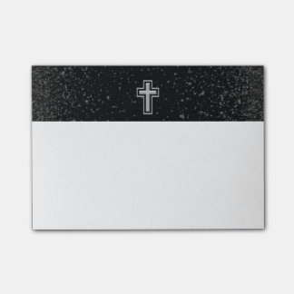 Silver Tone Christian Cross on Black Sparkle Post-it Notes