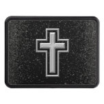 Silver Tone Christian Cross on Black Sparkle Trailer Hitch Cover