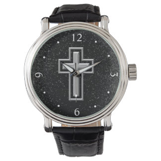 Silver Tone Christian Cross on Black Sparkle Watch