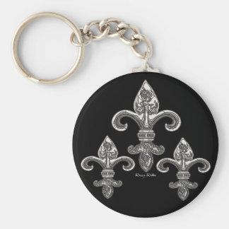 Silver tone Fleur De Lys Keychain