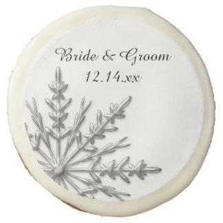 Silver Tone Snowflake Winter Wedding Favor Sugar Cookie