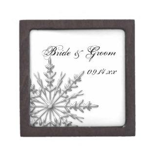 Silver Tone Snowflake Winter Wedding Gift Box