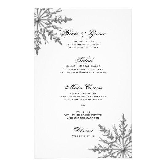 Silver Tone Snowflake Winter Wedding Menu