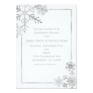 Silver Tone Snowflakes Holiday Winter Invitation