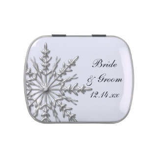 Silver Tone Winter Snowflake Wedding Favor Jelly Belly Candy Tin
