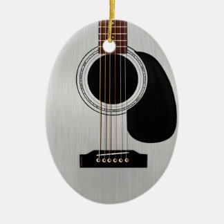 Silver Top Acoustic Guitar Double-Sided Oval Ceramic Christmas Ornament