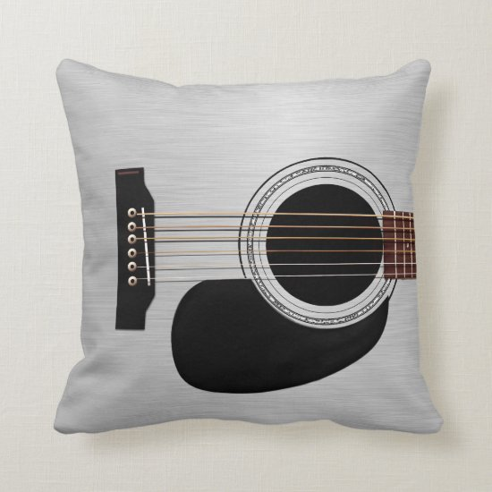Silver Top Acoustic Guitar Throw Pillow