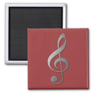 silver treble clef 2 inch square magnet