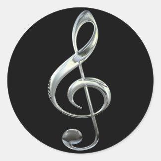 Silver Treble Clef Classic Round Sticker