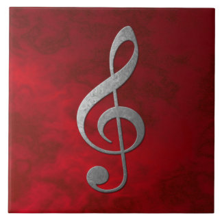 """""""silver"""" treble clef - red - for your home tile"""