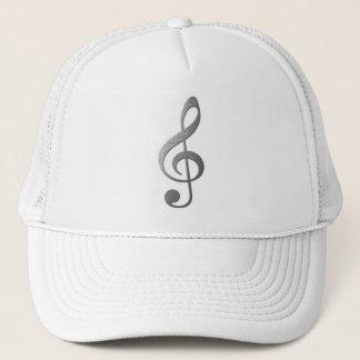 silver treble clef trucker hat