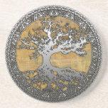 Silver Tree of Life Beverage Coaster