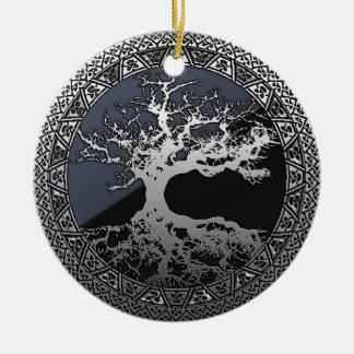 Silver Tree of Life Ceramic Ornament