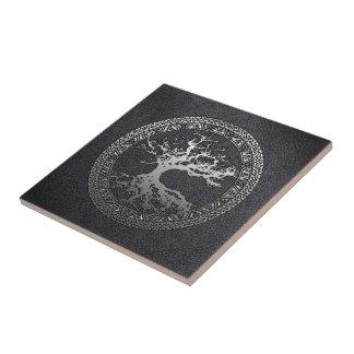 Silver Tree of Life Ceramic Tile