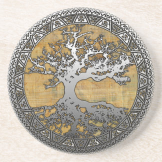 Silver Tree of Life Beverage Coaster
