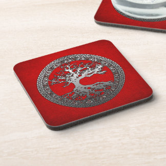 Silver Tree of Life Beverage Coasters