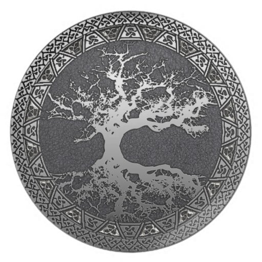 Silver Tree of Life Dinner Plate