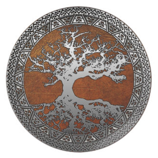 Silver Tree of Life Melamine Plate