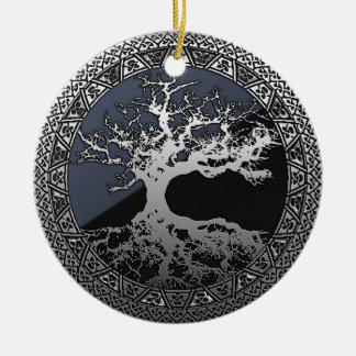 Silver Tree of Life Christmas Ornaments