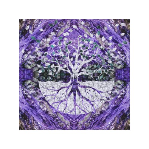 Silver Tree of Life Yggdrasil on Amethyst Geode Canvas Print