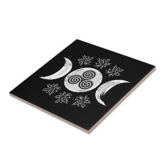 Silver Tri-Moon & Pentacle, Holly - Tile/Trivet #1 Tile