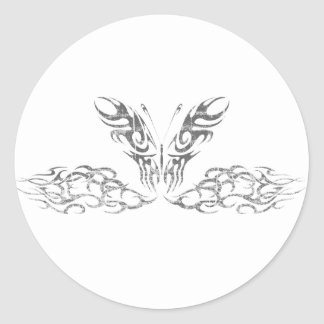Silver Tribal Butterfly Classic Round Sticker