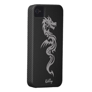 Silver Tribal Dragon with Faux Carbon Fiber iPhone 4 Cover