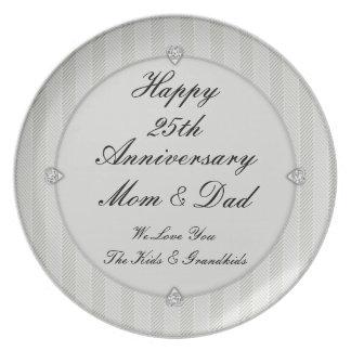 Silver Trim Diamond Hearts 25th Anniversay Plate