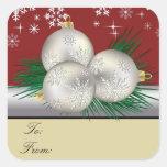Silver Trio Gift Tags Square Sticker