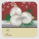 Silver Trio Gift Tags Square Stickers