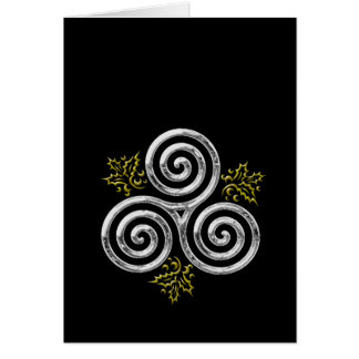 Silver Triple Spiral & Holly Leaves on Black Card