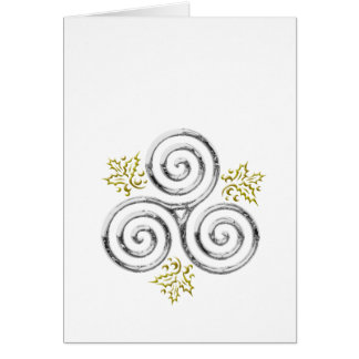 Silver Triple Spiral & Holly Leaves on White Card