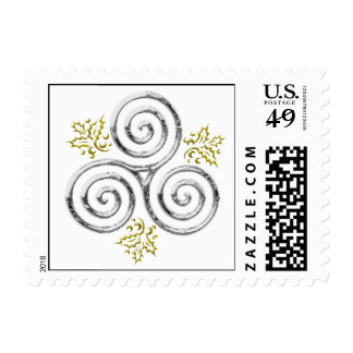 Silver Triple Spiral with Holly Leaves Postage