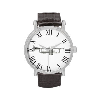 Silver trumpet and roman numbers wristwatches