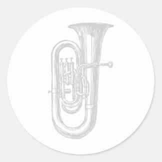 """""""Silver"""" Tuba Classic Round Sticker"""