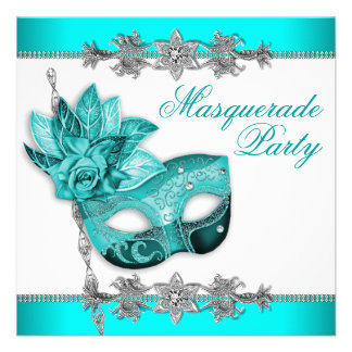 Silver Turquoise Blue Masquerade Party Invitations