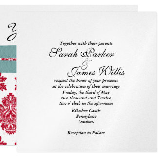 Silver & turquoise & red metallic Wedding Invite