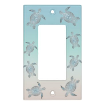 Beach Themed Silver Turquoise Sea Turtles Beach Light Switch Cover
