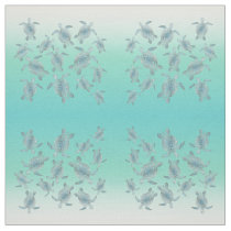 Silver Turquoise Sea Turtles Pattern Fabric