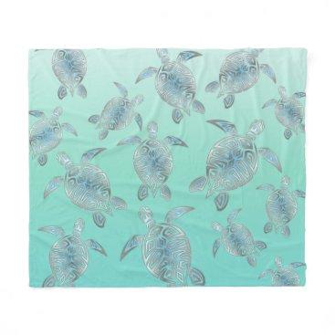 Beach Themed Silver Turquoise Sea Turtles Pattern Fleece Blanket
