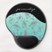 Silver  Turquoise Sea Turtles Pattern Gel Mouse Pad