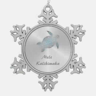 Silver Turtle Mele Kalikimaka Snowflake Pewter Christmas Ornament